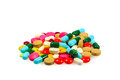 A pile of various pills on white background Royalty Free Stock Image