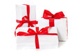 Pile of various wrapped presents all on white background Royalty Free Stock Photo