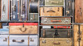 Pile of vintage suitcases colorful Royalty Free Stock Photography