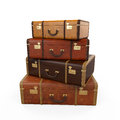 Pile of vintage suitcases isolated on white background d render Stock Photos