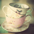 Pile of vintage tea cups porcelain Stock Photo