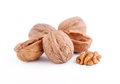 Pile of walnuts on white background Royalty Free Stock Images