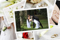 Pile of wedding photos on wooden table Royalty Free Stock Photo