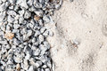 Pile of white sand and small gravel stone used as construction material Royalty Free Stock Photo