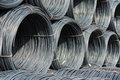 Pile of wire rod or coil for industrial usage a background Royalty Free Stock Images
