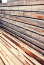 Pile of wood beams ready for construction Royalty Free Stock Photos