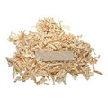 Pile wood shavings and board on white with clipping path Royalty Free Stock Image