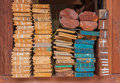 Pile of wood stored in stock on shelf thailand market Royalty Free Stock Photography