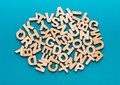 Pile of wooden english letters background