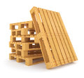 Pile of wooden pallets on white background d rendered illustration clipping path included Stock Photo