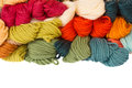 Pile of woolen yarns Stock Photo