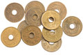 Pile of 5 yen coins japanese money. Royalty Free Stock Photo