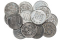 Pile of 100 yen coins japanese money. Royalty Free Stock Photo