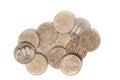 Pile of 500 yen coins japanese money on white background. Royalty Free Stock Photo