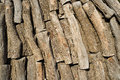 Piled logs inside a traditional charcoal kiln Royalty Free Stock Photography