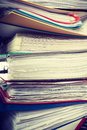 Piles of binders with documents. Royalty Free Stock Photo