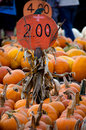 Piles of bright orange pumpkins are for sale at a local farm Stock Photography