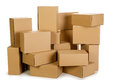 Piles of cardboard boxes on a white background Royalty Free Stock Photo