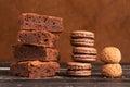 Piles of chocolate cakes Royalty Free Stock Photo