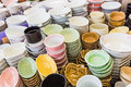 Piles of colorful ceramic bowls. Royalty Free Stock Photo