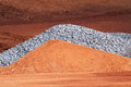 Piles of Dirt and Gravel on Construction Site Royalty Free Stock Photo