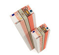 Piles of euro banknotes bills isolated on white background Royalty Free Stock Photos