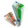 Piles of euro banknotes bills isolated on white background Stock Image