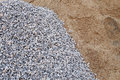 Piles gravel and sand for construction Royalty Free Stock Photo
