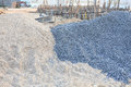 Piles gravel and sand for construction Royalty Free Stock Image