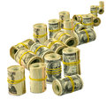 Piles of money isolate isolated image rolls dollars on white background Stock Image