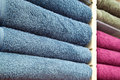Piles of Multicolored Towels Stock Photo