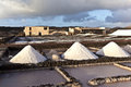 Piles of salt in the salinas de janubio lanzarote refinery saline from spain Stock Photography