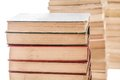 Piles of weathered old books close up several hardcover Royalty Free Stock Photos