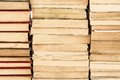 Piles of weathered old books close up three hardcover Stock Images