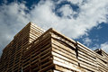 Piles of wooden pallets industrial Stock Photos