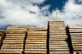 Piles of wooden pallets industrial Royalty Free Stock Photography