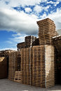 Piles of wooden pallets industrial Stock Photo