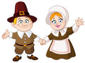 Pilgrim couple illustration of a thanksgiving day Stock Photo