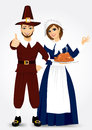 Pilgrim couple vector illustration for thanksgiving of holding holding a roast turkey and giving thumbs up Stock Image
