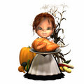 Pilgrim Girl with Turkey Royalty Free Stock Photography