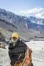 Pilgrim in Himalaya mountains Stock Photos