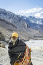 Pilgrim in Himalaya mountains Royalty Free Stock Photos