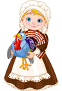 Pilgrim lady with turkey Royalty Free Stock Images