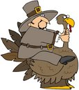 Pilgrim Riding A Turkey Stock Photo