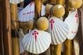 Pilgrim scallop shells symbol of the camino de santiago Royalty Free Stock Image