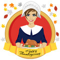 Pilgrim woman holding a roasted turkey behind gold ribbon with happy thanksgiving text
