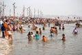 Pilgrims bathing in the sangam at kumbh mela allahabad india hindu triveni intersection of yamuna and ganges rivers Stock Image
