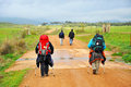 Pilgrims on the camino de santiago spain way to santiago route compostela in winter walking path towards caceres via la plata Royalty Free Stock Images