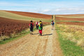 Pilgrims on camino a group of along the historical way to santiago de compostela in spain Royalty Free Stock Photography