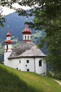 "Pilgrims church maria rast hainzenberg the pilgrimage ""maria rast"" the most frequented pilgrimage site of the zillertal valley Royalty Free Stock Image"
